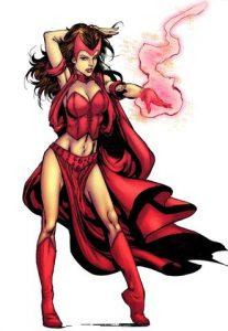 bruja escarlata apuntando con magia en la mano. superhéroes mas poderosos de Marvel