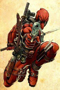 deadpool sentado y apuntando con arma, superhéroes mas poderosos de Marvel