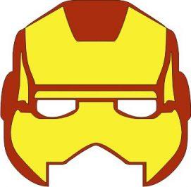 Mascara de ironman amarilla para imprimir